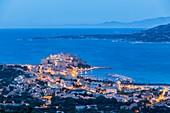 France, Haute Corse, Balagne, Calvi and his Genoese citadel in the bay of Calvi
