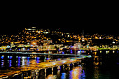Evening view from Fort-de-France harbor to St. Louis Cathedral, Martinique, Caribbean, Central America