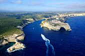 France, Corse du Sud, Freto, Bonifacio, the cliffs and cave of Saint Antoine, left Punta San Antonio and lighthouse of the Madonetta (aerial view)