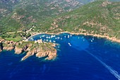 France, Corse du Sud, Deux Sevi, Gulf of Girolata, Osani, Girolata and its fort (aerial view)