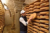 France, Jura, Grange sur Baume, Morbier cheese cellar, Hubert Poulet