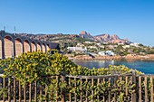 France, Var, corniche of Estérel, Anthéor municipality of Saint Raphaël, the creek of Anthéor seen since the tourist route of the Road of the Mimosa, in background the Saint Pilon and the Cap Roux