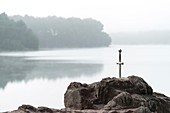 France, Ille-et-Vilaine, Iffendic, The sword Excalibur and the lake of Trémelin in the forest of Brocéliande