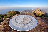 France, Var, Saint Raphael's common Agay, massif of Esterel, viewpoint indicator at the top of the Cap Roux, behind the summit of Saint Pilon peaks (442m), the coast of the Corniche of Esterel, Antheor and the Cape of Dramont