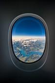 France, Haute-Savoie, Leman lake et Alps (aerial view)