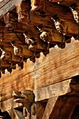 France, Ariege, Mirepoix, listed at Great Tourist Sites in Midi Pyrenees, home Consuls, Carved ends of the joists of the house of the consuls