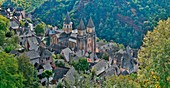 France, Aveyron, listed at Great Tourist Sites in Midi Pyrenees, Conques, listed as The most beautiful villages in France, General view of the village and its abbey Sainte Foy de Conques