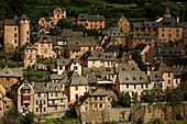 France, Aveyron, listed at Great Tourist Sites in Midi Pyrenees, Conques, listed as The most beautiful villages in France, General view of the village at sunset