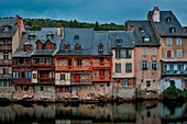 France, Aveyron, Espalion, listed as World Heritage by UNESCO, Old bridge, listed as The most beautiful villages in France, old tannery Calquieres along the Lot