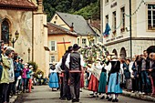 France, Ariege, Seix, Transhumance celebration, scene of life in Seix during the festival of the transhumance of the herds in the mountains in the beginning of the summer, folkloric parade on the streets of Seix