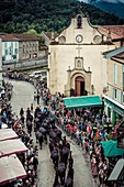 France, Ariege, Seix, Transhumance celebration, scene of life in Seix during the festival of the transhumance of the herds in the mountains in the beginning of the summer