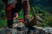 France, Ariege, Ayet en Bethmale, Campuls, feast of transhumance of herds in the mountains at the beginning of summer, couserans folk traditional clogs