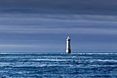 France, Finistere, Molene Archipelago, the lighthouse of Kéréon built on the reef of Men Tensel, listed as Historic Monument