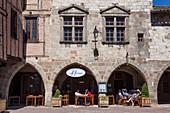 France, Tarn, the Vere Valley, Castelnau de Montmirail, labelled Les Plus Beaux Villages de France (The Most Beautiful Villages of France), the main square of the village