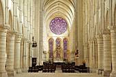 France, Aisne, Laon, cathedral Notre Dame built between 1150 and 1180, interior and rosace