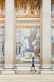 France, Paris, Latin Quarter, Pantheon (1790) neo classical style, mural decoration of the artist Pierre Cecile Puvis de Chavannes representing Saint Genevieve supplying Paris (1897)