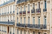 France, Paris, district of Europe, Rue de Madrid, facades of Haussmann buildings