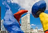 France, Hauts de Seine, La Defense, Puteaux, parvis of the commercial center Les Quatre Temps with the monumental sculpture of Joan Miró entitled Deux personnages fantastiques (1976) The architect Jean Paul Viguier