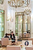 France, Paris, Rue de Rivoli, luxury hotel Le Meurice founded by Augustin Meurice in 1838 and frequented by Jean Cocteau, Queen Victoria, Ernest Hemingway, Pablo Picasso, Andy Warhol ...