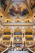 France, Paris, Opera Garnier (1875) designed by the architect Charles Garnier in an eclectic style, large staircase and ceiling of the painter Isidore Alexandre Auguste Pils
