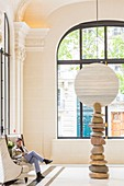 France, Paris, Avenue Kleber, luxury hotel The Peninsula opened in 2014 in the former mansion of the 19th century called Palace of Castile, sculpture in the lobby titled Moon River artsite Xavier Corbero