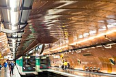 France, Paris, metro station of line 11 covered since 1994 with copper plates for the bicentennial ceremonies of the National Conservatory of Arts and Crafts