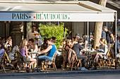 France, Paris, Les Halles district, cafe on Stravinsky square