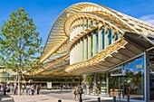 France, Paris, the canopy of the Forum des Halles made of glass and metal, designed by Patrick Berger and Jacques Anziutti and inaugurated on 5 April 2016