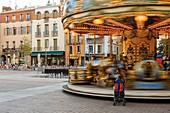 France, Pyrenees Orientales, Perpignan, Perpignan city &#x200b,&#x200b,center, carousel on the republic square