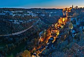 France, Lot, listed at Great Tourist Sites in Midi Pyrenees, Rocamadour, Natural regional park Causses du Quercy, listed as World Heritage by UNESCO, dusk on the sleepy village