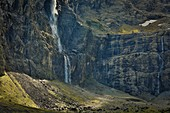 France, Hautes Pyrenees, listed at Great Tourist Sites in Midi Pyrenees, Pyrenees National Park, listed as World Heritage by UNESCO, Gavarnie, Gavarnie circus stunt falling from 422 meters high