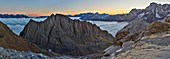 France, Hautes Pyrenees, listed at Great Tourist Sites in Midi Pyrenees, Pyrenees National Park, listed as World Heritage by UNESCO, Gavarnie, Sarradets, panorama of refuge and peak Sarradets