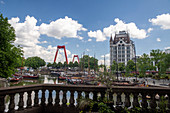 View of the old harbor 'Oudehaven', Willemsbrücke and the White House of Rotterdam, Holland
