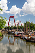 View of the old port 'Oudehaven', and Willemsbrücke from Rotterdam, Holland