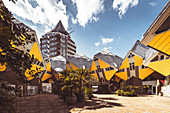 Cube houses by architect Piet Blom in sunshine and blue sky, Overblaak 70, Rotterdam, The Netherlands