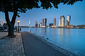 View of the Erasmus Bridge and the skyline at the cruise terminal in Rotterdam, Netherlands during the blue hour over the New Maas.