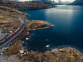 Berninaexpress am Lago Bianco, Bernina, Berninapass, Oberengadin, Engadin, Schweiz, Europa\n