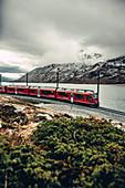 Berninaexpress on Lago Bianco, Bernina, Bernina Pass, Upper Engadine, Engadine, Switzerland, Europe