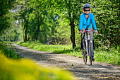Woman rides through forest on Danube Cycle Path, Neuburg an der Donau, Danube Cycle Path, Upper Bavaria, Bavaria, Germany