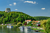 Danube with Liberation Hall, Danube Cycle Path, Kelheim, Lower Bavaria, Bavaria, Germany