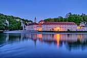 Weltenburg Abbey and Danube illuminated, Weltenburg Abbey, Danube Cycle Path, Kelheim, Lower Bavaria, Bavaria, Germany
