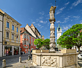 Fountain at Straubing town square, Straubing, Danube Cycle Path, Lower Bavaria, Bavaria, Germany