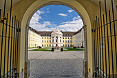 View through entrance gate to Metten Benedictine Abbey, Metten, Danube Cycle Path, Lower Bavaria, Bavaria, Germany
