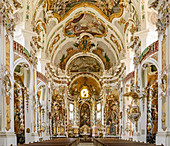 Altar and vaulted ceiling of the Asambasilika in Osterhofen, Osterhofen, Danube Cycle Path, Lower Bavaria, Bavaria, Germany