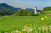 Church of St. Florian in front of Heuberg, Chiemgau Alps, Chiemgau, Upper Bavaria, Bavaria, Germany