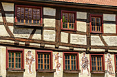 Half-timbered house with figures as a wall painting, Friedingen an der Donau, Danube Valley, Danube Cycle Path, Baden-Württemberg, Germany