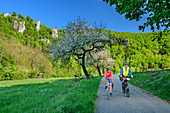 Man and woman ride a bike through the Upper Danube Valley, near Beuron, Upper Danube Valley, Danube Cycle Path, Baden-Württemberg, Germany