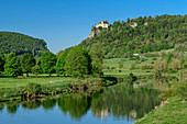 Danube with Werenwag Castle in the background, Upper Danube Valley, Danube Cycle Path, Baden-Württemberg, Germany