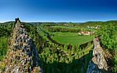 Panorama with woman sitting on rock tower, Danube in the background, Upper Danube Valley, Danube Cycle Path, Baden-Württemberg, Germany