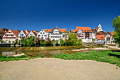Town view of Riedlingen with half-timbered houses and Danube, Riedlingen, Danube Cycle Path, Baden-Württemberg, Germany